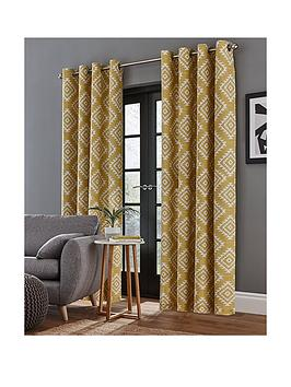 Catherine Lansfield Catherine Lansfield Aztec Lined Eyelet Curtains Picture