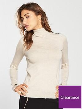 wallis-button-shoulder-roll-neck-knitted-jumper-oatmeal