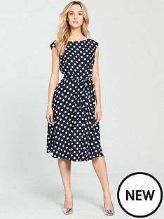 wallis-woven-spot-fit-and-flare-dress