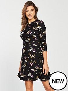warehouse-molly-ponte-dress-black