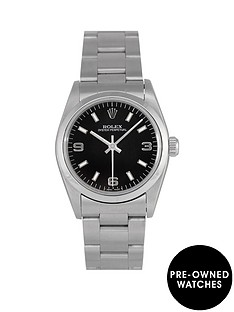 rolex-rolex-pre-owned-midsize-oyster-perpetual-black-3-6-and-9-dial-stainless-steel-mens-watch-ref-67480