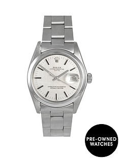 rolex-rolex-pre-owned-oyster-perpetual-date-silver-linen-baton-dial-stainless-steel-mens-watch-ref-1500