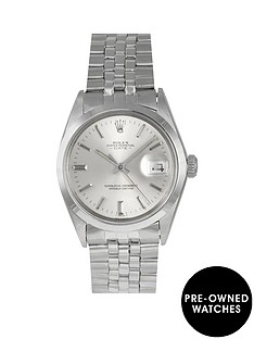 rolex-rolex-pre-owned-oyster-perpetual-date-silver-baton-dial-stainless-steel-mens-watch-ref-1500