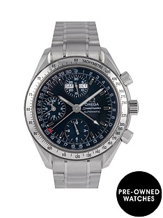 omega-omega-pre-owned-speedmaster-reduced-triple-calendar-blue-dial-stainless-steel-mens-watch-with-original-paperwork-ref-352380