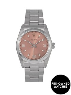 rolex-rolex-pre-owned-midsize-oyster-perpetual-salmon-3-6-and-9-dial-stainless-steel-mens-watch-ref-67180