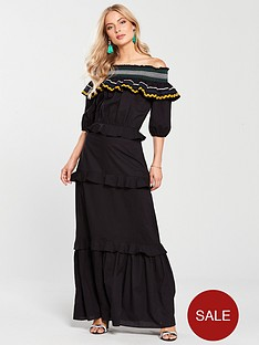 v-by-very-trim-detail-bardot-maxi-dress-black