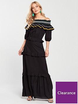 v-by-very-trim-detail-bardot-maxi-dress-black