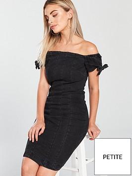 v-by-very-petite-petite-frill-strap-denim-mini-dress-black