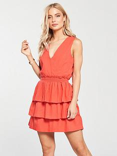 v-by-very-shirring-tiered-linen-dress-coral