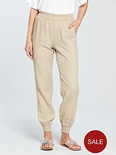 v-by-very-linen-shirred-jogger-stone