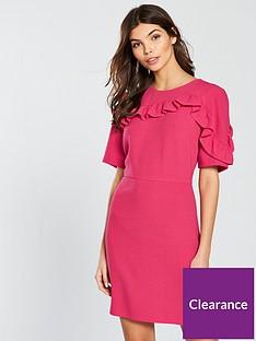 v-by-very-short-sleeve-frill-dress-pink