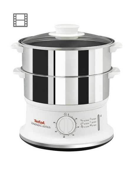 tefal-vc145140-convenient-series-steamer-2-durable-stainless-steel-bowls-white