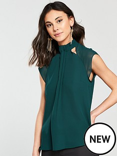 river-island-cap-sleeve-blouse--green