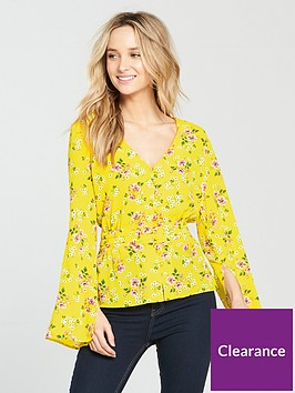 v-by-very-floral-button-through-blouse-yellow