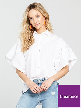 river-island-river-island-frill-sleeve-shirt--white
