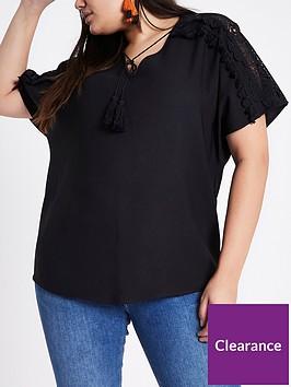 ri-plus-lace-sleeve-t-shirt-black