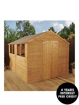mercia-mercia-10x8ft-great-value-overlap-apex-shed-4-windows-double-door-with-assembly