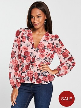 v-by-very-button-front-peplum-blouse-floral