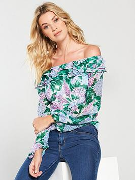v-by-very-frill-neck-top-print