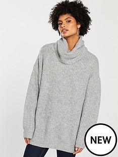 v-by-very-oversized-roll-neck-longline-jumper-grey-marl