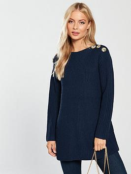 v-by-very-button-shoulder-rib-trapeze-longline-jumper-navy