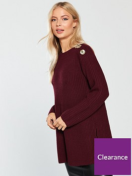 v-by-very-button-shoulder-rib-trapeze-longline-jumper-merlot
