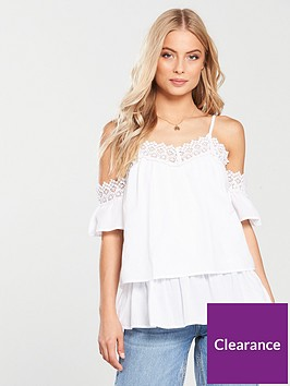 v-by-very-crochet-trim-cold-shoulder-top-white