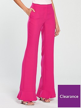 v-by-very-slim-leg-frill-hem-flared-trouser-hot-pink