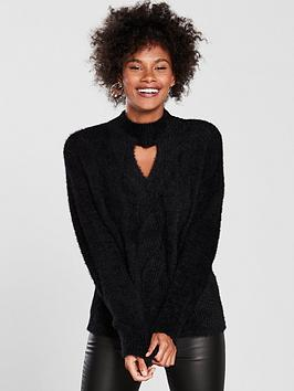 v-by-very-fluffy-cable-keyhole-neck-jumper-black