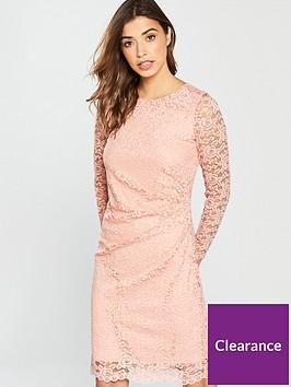 wallis-lace-side-rouche-dress-light-pink