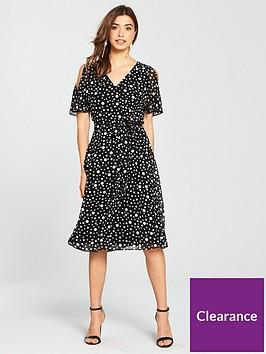 wallis-spot-cold-shoulder-midi-dress-blackivory