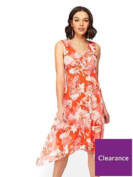 wallis-petite-floral-ruffle-hanky-hem-dress-red