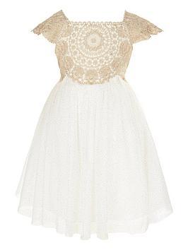 Monsoon   Baby Estella Sparkle Dress - Gold