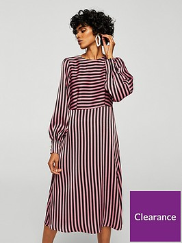 mango-mango-striped-midi-dress-pinkblack