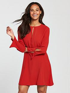 mango-cut-out-detail-dress-red