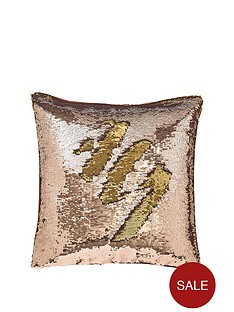 catherine-lansfield-nbspreverse-sequin-cushion-bronzegold