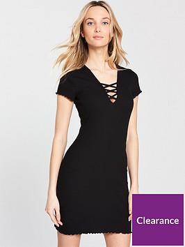 miss-selfridge-rib-lattice-top-jersey-dress-blacknbsp