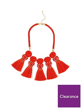 v-by-very-statement-tassel-necklace-orange