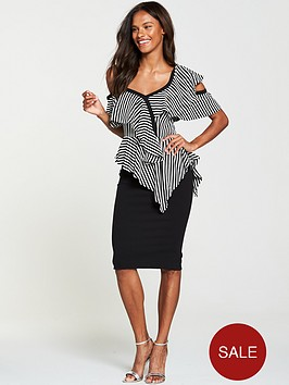 v-by-very-cold-shoulder-frill-pencil-dress-stripe