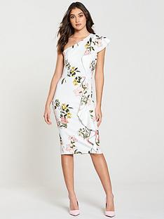 v-by-very-one-shoulder-frill-pencil-dress-whiteprintnbsp