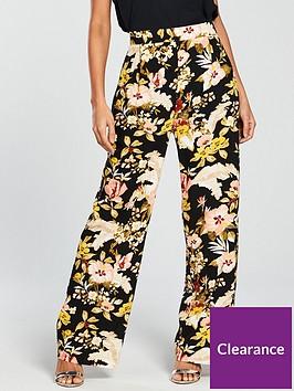 warehouse-hibiscus-wide-leg-trousers-black