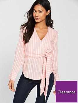 warehouse-stripe-tie-front-blouse-pink