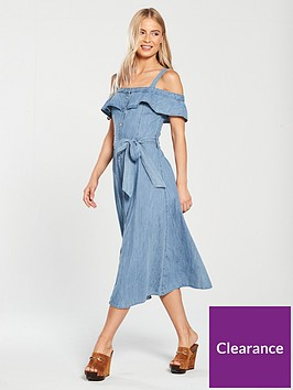 warehouse-cold-shoulder-denim-midi-dress-mid-wash