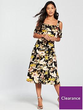 warehouse-hibiscus-cold-shoulder-dress-black