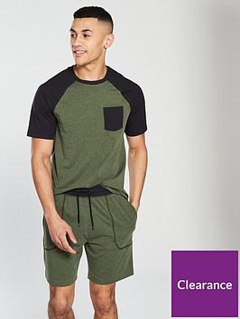 v-by-very-raglan-top-amp-jersey-short-pyjama-set-khakiblacknbsp