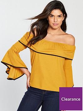 v-by-very-bardot-contrast-tipping-top-mustard
