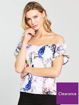 v-by-very-puff-detail-arm-bardot-top-floral-print