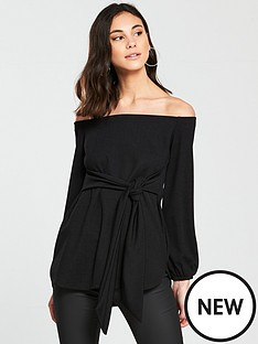 v-by-very-bardot-tie-waist-top-ndash-black