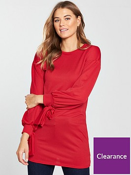 v-by-very-cuff-bow-detail-tunic-red