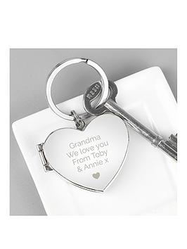 Very Personalised Valentines Heart Photo Key Ring Picture